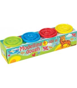 Plastelína 4-farebná po 100g ľahká