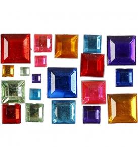 Drahokamy s plochým chrbtom 4-10mm štvorčeky, mix farieb, cca 15g