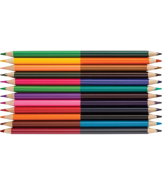 Farbičky trojhranné 12ks - 24 farieb obojstranné