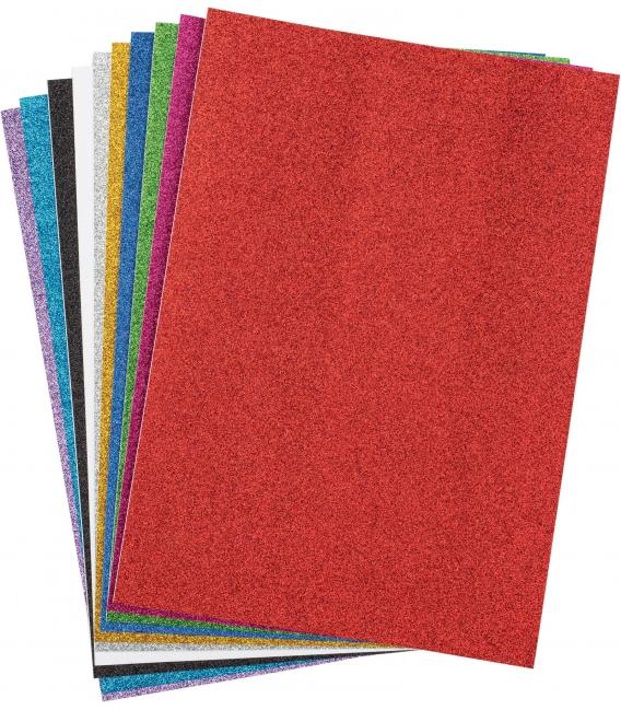 Glitrový samolepiaci farebný papier A4 10 hárkov
